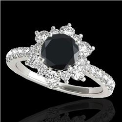 2.19 ctw Certified VS Black Diamond Solitaire Halo Ring 10k White Gold - REF-73X5A