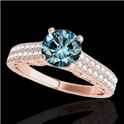 1.41 ctw SI Certified Blue Diamond Solitaire Antique Ring 10k Rose Gold - REF-132W3H