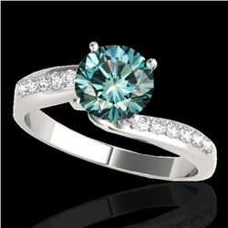 1.15 ctw SI Certified Fancy Blue Diamond Bypass Ring 10k White Gold - REF-111A8N