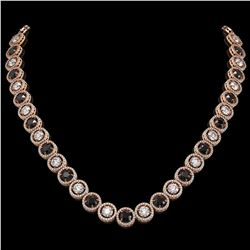 32.10 ctw Black & Diamond Micro Pave Necklace 18K Rose Gold - REF-2386Y4X