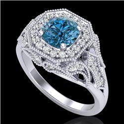 1.75 ctw Fancy Intense Blue Diamond Art Deco Ring 18k White Gold - REF-236A4N