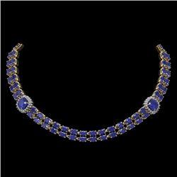 43.97 ctw Sapphire & Diamond Necklace 14K Yellow Gold - REF-527W3H