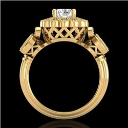 1.5 ctw VS/SI Diamond Solitaire Art Deco 3 Stone Ring 18k Yellow Gold - REF-300X2A