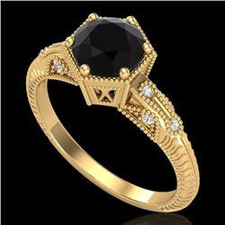 1.17 ctw Fancy Black Diamond Engagment Art Deco Ring 18k Yellow Gold - REF-85F5M