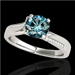 1.18 ctw SI Certified Fancy Blue Diamond Solitaire Ring 10k White Gold - REF-150X2A