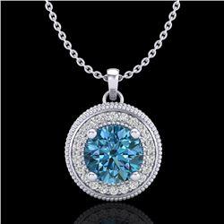1.25 ctw Fancy Intense Blue Diamond Art Deco Necklace 18k White Gold - REF-132M8G