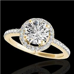 1.4 ctw Certified Diamond Solitaire Halo Ring 10k Yellow Gold - REF-190Y9X