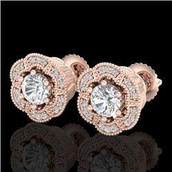 1.51 ctw VS/SI Diamond Solitaire Art Deco Stud Earrings 18k Rose Gold - REF-263R6K