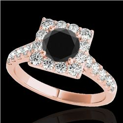 2 ctw Certified VS Black Diamond Solitaire Halo Ring 10k Rose Gold - REF-76K4Y