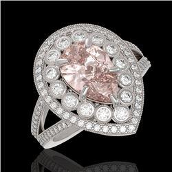 4.22 ctw Certified Morganite & Diamond Victorian Ring 14K White Gold - REF-195M6G