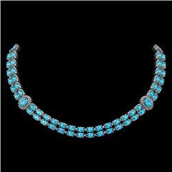39.28 ctw Swiss Topaz & Diamond Necklace 14K White Gold - REF-454K5Y