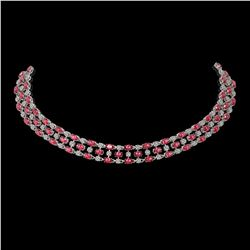 56.93 ctw Tourmaline & Diamond Necklace 10K White Gold - REF-709N3F