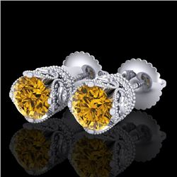 1.85 ctw Intense Fancy Yellow Diamond Art Deco Earrings 18k White Gold - REF-318X2A