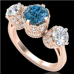 3.06 ctw Fancy Intense Blue Diamond Art Deco Ring 18k Rose Gold - REF-390G9W