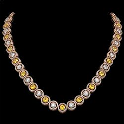 31.64 ctw Canary & Diamond Micro Pave Necklace 18K Rose Gold - REF-3354X5A