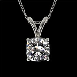0.50 ctw Certified VS/SI Quality Cushion Diamond Necklace 10k White Gold - REF-65F2M
