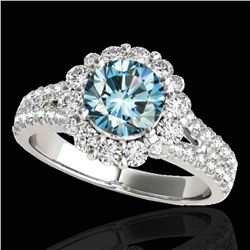 2.01 ctw SI Certified Fancy Blue Diamond Halo Ring 10k White Gold - REF-156N8F