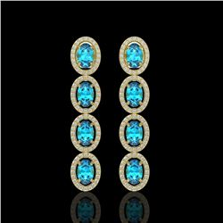 6.28 ctw Swiss Topaz & Diamond Micro Pave Halo Earrings 10k Yellow Gold - REF-143F6M