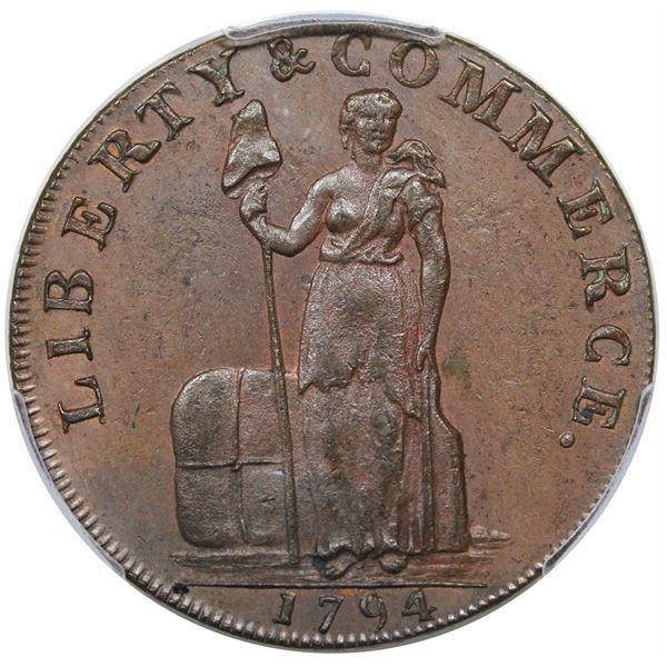 1794/1793 Talbot, Allum, & Lee Cent/Promissory Halfpenny Mule, LIVERPOOL Edge, Breen 1043, W-8670, R