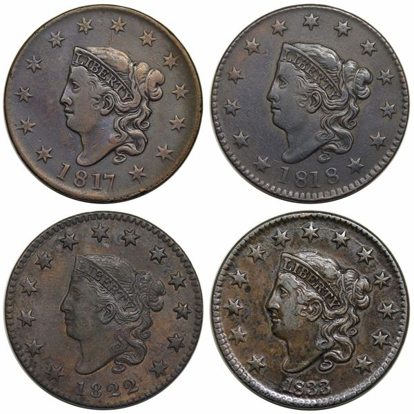 Lot of 4 Middle Date Large Cents 1817-1833
