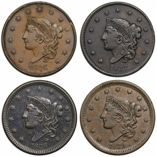 Lot of 4 Middle Date Large Cents 1836-1839