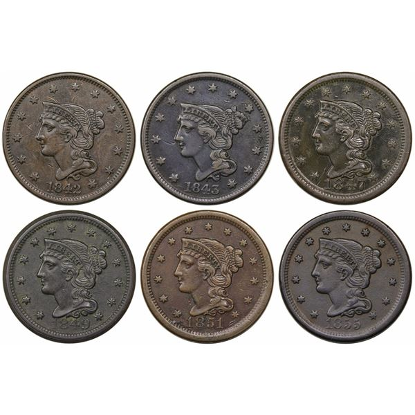 Lot of 6 Late Date Large Cents, 1842-1855