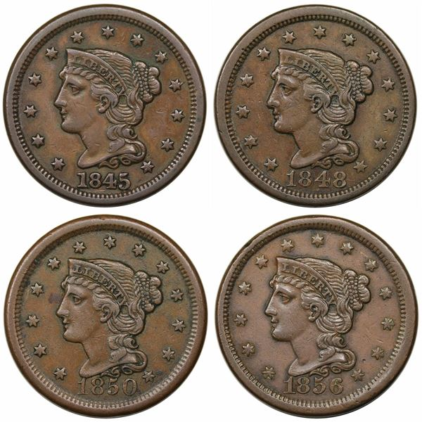 Lot of 4 Late Date Large Cents, 1845-1856