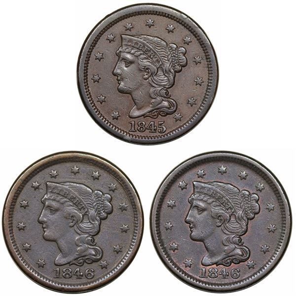 Trio of Late Date Large Cents with Cuds