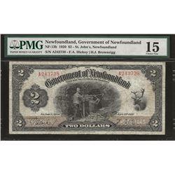 Newfoundland NF-13b 1920 $2 F15 PMG