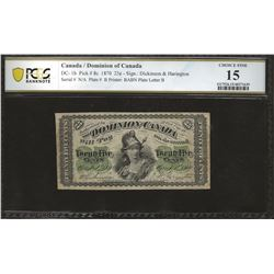 Dominion of Canada DC-1b 1870 $0.25 Series B F15 PCGS