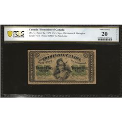 Dominion of Canada DC-1c 1870 $0.25 Series VF20 Details PCGS