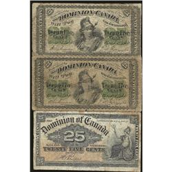 LOT OF 3 Dominion of Canada DC-1c 1870 $0.25 & 1900 $0.25