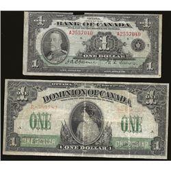 Dominion of Canada 1917 $1 & 1935 $1