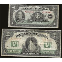 Dominion of Canada 1917 $1 & 1935 $1