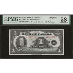 Bank of Canada BC-1 1935 $1 AU58 PMG