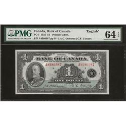 Bank of Canada BC-1 1935 $1 CHUNC64 EPQ PMG