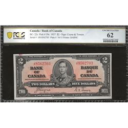 Bank of Canada BC-22c 1937 $2 UNC62 PCGS