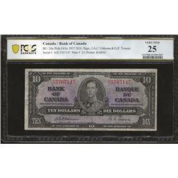 Bank of Canada BC-24a 1937 $10 Osborne VF25 PCGS