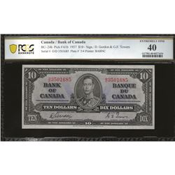 Bank of Canada BC-24b 1937 $10 EF40 PCGS