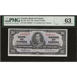 Bank of Canada BC-24b 1937 $10 CHUNC63 PMG
