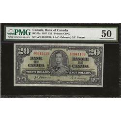 Bank of Canada BC-25a 1937 $20 Osborne AU50 PMG