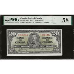 Bank of Canada BC-25b 1937 $20 AU58 PMG