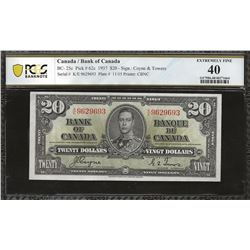 Bank of Canada BC-25c 1937 $20 EF40 PCGS
