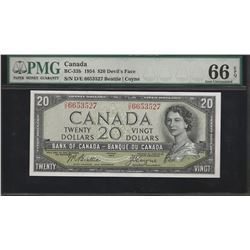 Bank of Canada BC-33b 1954 $20 Devil's Face GEM66 EPQ PMG