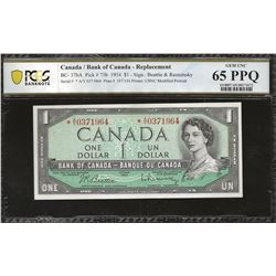 Bank of Canada BC-37bA 1954 $1 *A/Y GEM65 PPQ PCGS