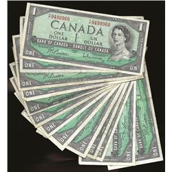 LOT OF 13 Bank of Canada 1954 $1 VF+