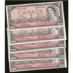 LOT OF 5 Bank of Canada 1954 $2 VF+