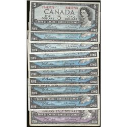 LOT OF 8 Bank of Canada 1954 $5 and 1 1954 $10
