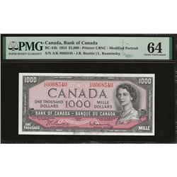 Bank of Canada BC-44b 1954 $1,000 Beattie Rasminsky CHUNC64 PMG