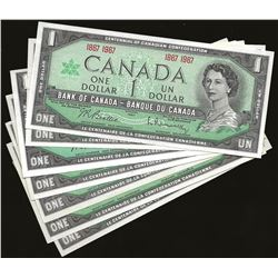 LOT OF 7 Bank of Canada 1967 $1 Special SN UNC+
